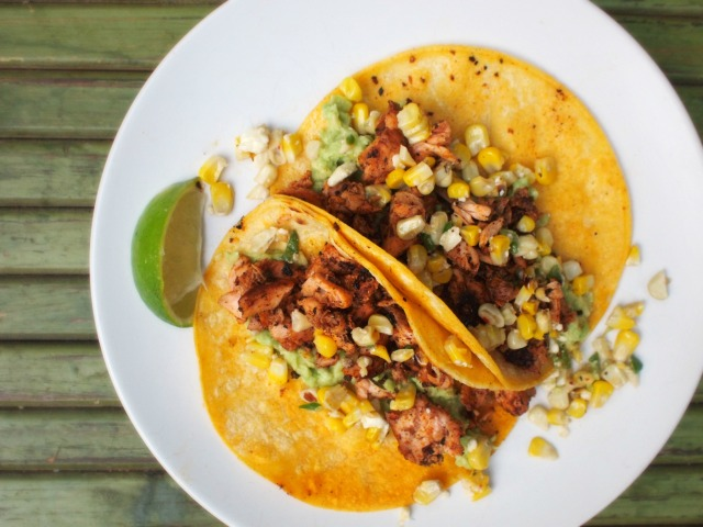 blackened salmon tacos with jalapeno corn salsa | bloom and nourish