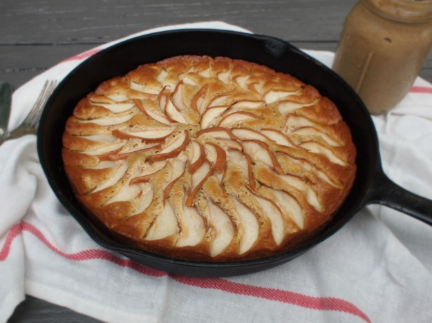 maple bourbon pear cake with caramel sauce | bloom & nourish
