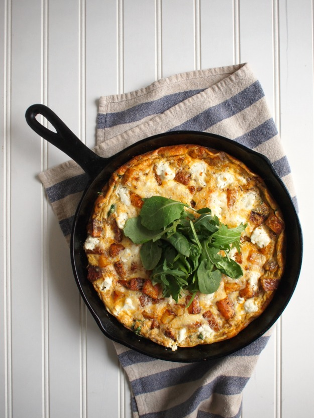 roasted potato, greens, and goat cheese frittata | bloom & nourish