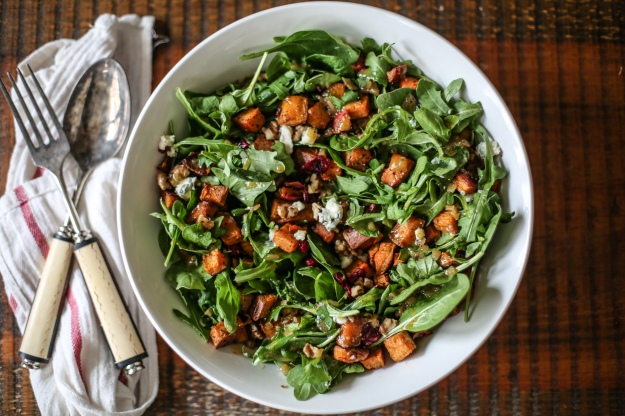 Roasted Sweet Potato and Cranberry Salad with Blue Cheese, Toasted Walnuts, and a Warm Apple Cider Vinaigrette | Bloom & Nourish